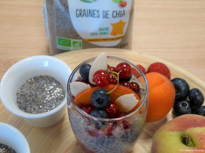 Entremets aux graines de chia et aux fruitsrouges