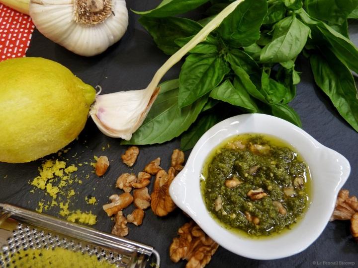 Pesto de basilic, noix etcitron