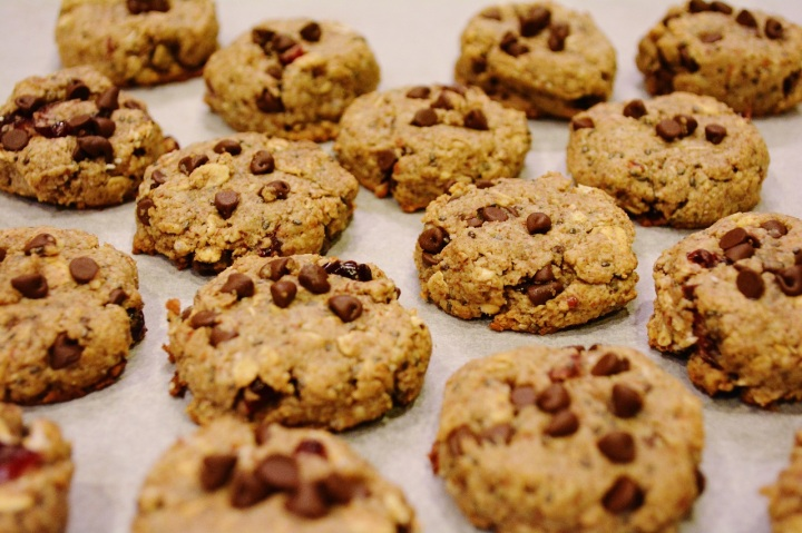Cookies aux cranberries, beurre de cacahuètes et pépites dechocolat