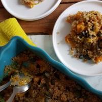 Gratin de potimarron à la tome de brebis et crumble de quinoa