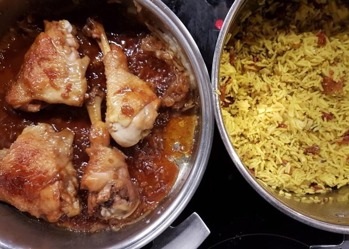 Poulet caramélisé au miel et riz basmati au curcuma et augingembre